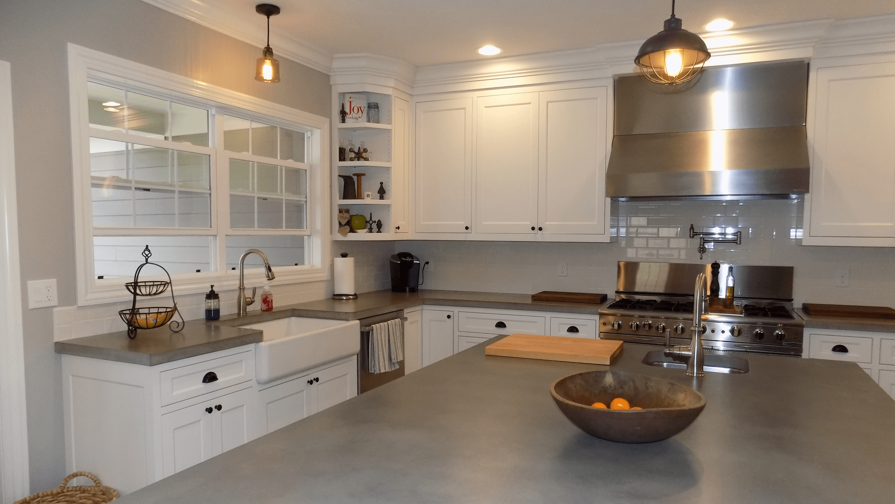 gourmet kitchen, concrete counter tops