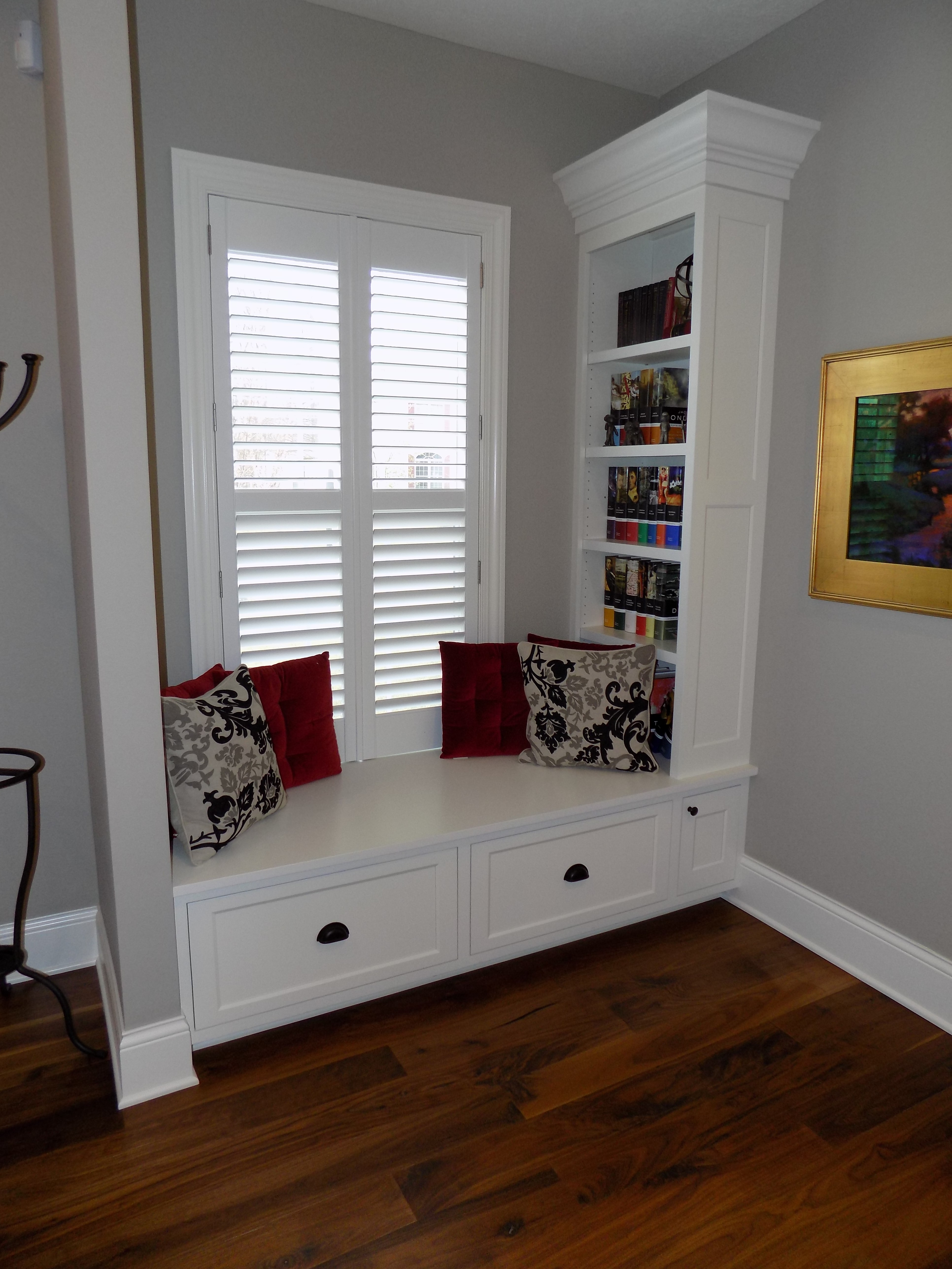 custom built-in bookshelf and window seat